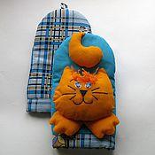 Для дома и интерьера ручной работы. Ярмарка Мастеров - ручная работа Прихватка - рукавичка для кухни Рыжий кот (комплект). Handmade.