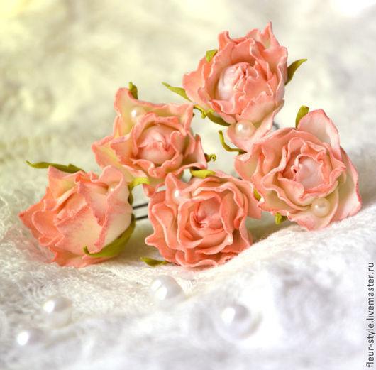 Заколки ручной работы. Ярмарка Мастеров - ручная работа. Купить розы на шпильке. Handmade. Кремовый, для невест, шпильки