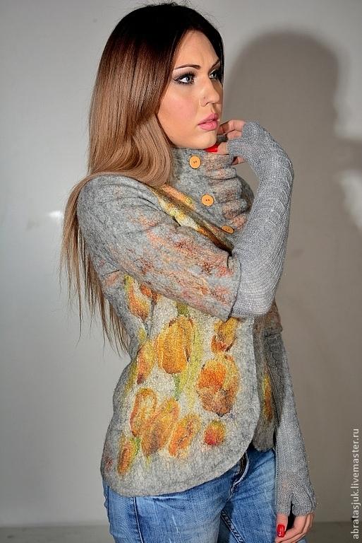 """Пиджаки, жакеты ручной работы. Ярмарка Мастеров - ручная работа. Купить Жакет """"Тюльпаны"""". Handmade. Серый, Валяние, женская одежда"""
