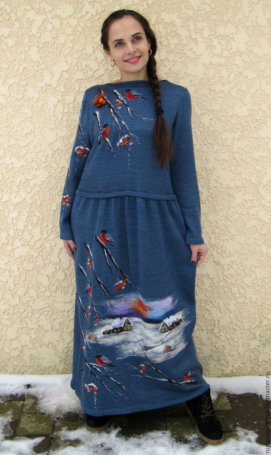 Dresses handmade. Livemaster - handmade. Buy dress Snegiri.Russian style, winter landscape, ruslan bystrov