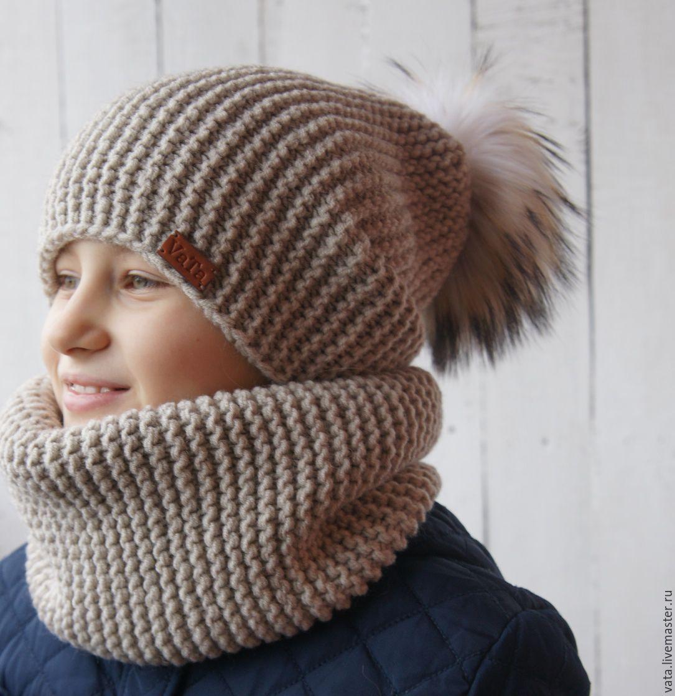 Купить Вязаная шапка с помпоном и снуд \