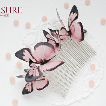Свадебный салон ручной работы. Ярмарка Мастеров - ручная работа Гребешок с бабочками разного размера. Handmade.