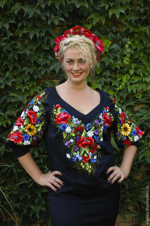 """Блузки ручной работы. Ярмарка Мастеров - ручная работа. Купить Женская блуза вышиванка """"Вдохновение"""" ручная вышивка гладью. Handmade."""