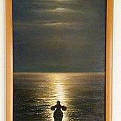 Картины и панно ручной работы. Ярмарка Мастеров - ручная работа Авторская картина Лунный пес. Handmade.