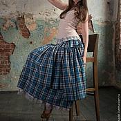 Одежда ручной работы. Ярмарка Мастеров - ручная работа Голубая клетчатая юбка в бохо-стиле. Handmade.