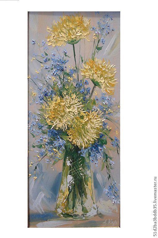 Картины цветов ручной работы. Ярмарка Мастеров - ручная работа. Купить цветы. Handmade. Желтый, картина, картина в подарок