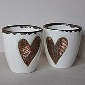 Посуда ручной работы. Ярмарка Мастеров - ручная работа Стакан с сердцем. Handmade.
