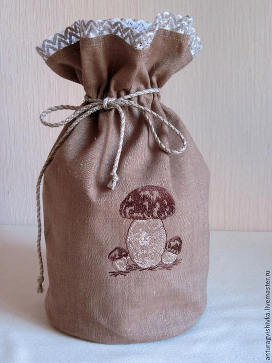 Льняной мешочек для хранения -`Грибы`.