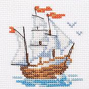 """Картины и панно ручной работы. Ярмарка Мастеров - ручная работа Вышивка """"Кораблик"""" (готовая работа). Handmade."""
