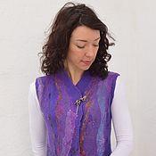 """Одежда ручной работы. Ярмарка Мастеров - ручная работа Жилет валяный """"Фиолетово"""". Handmade."""