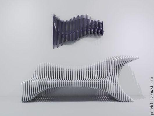 Мебель ручной работы. Ярмарка Мастеров - ручная работа. Купить parametric bench. Handmade. Белый, parametric
