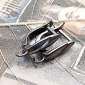 Материалы для творчества handmade. Livemaster - original item Earrings with lock 15mm black (3353). Handmade.