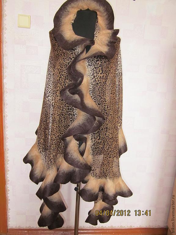 Shawls & Warm Stoles handmade. Livemaster - handmade. Buy Tippet 'Brown Cheetah'.Handmade, wool, tippet, animal coloring