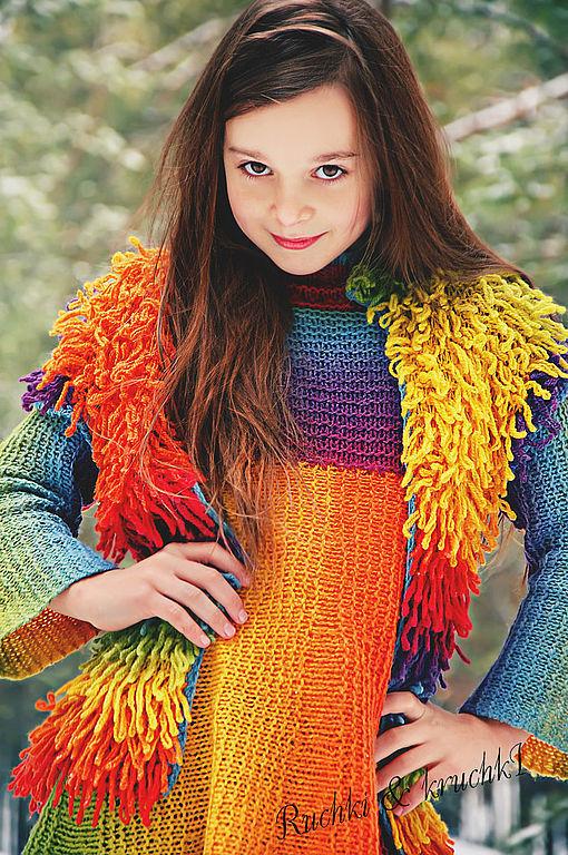 """Одежда для девочек, ручной работы. Ярмарка Мастеров - ручная работа. Купить """"Радужный пушистик"""" Авторский жилет для девочки из овечьей ш. Handmade."""