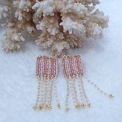 handmade. Livemaster - original item Earrings beaded embroidery Soft Pusey. Handmade.