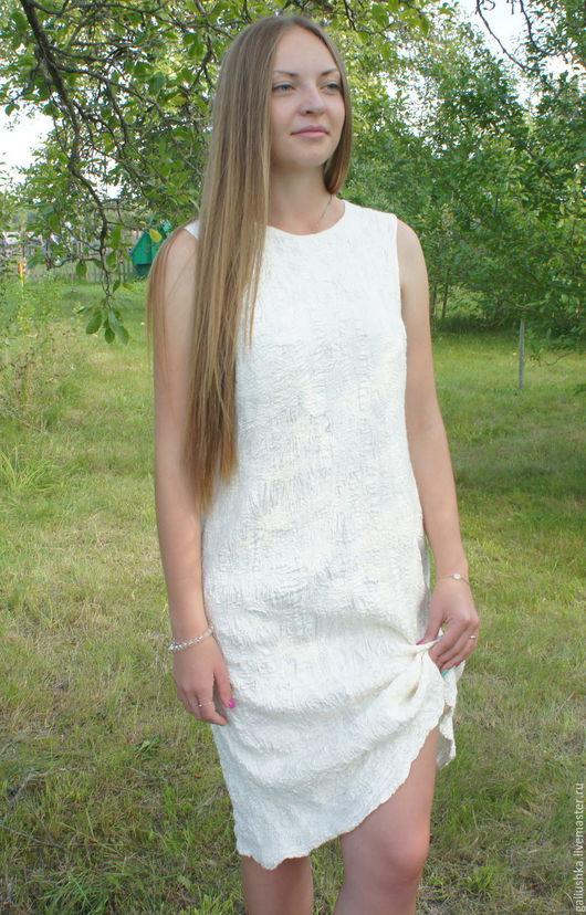 Платья ручной работы. Ярмарка Мастеров - ручная работа. Купить Платье валяное  Белизна. Handmade. Валяное платье, авторская работа