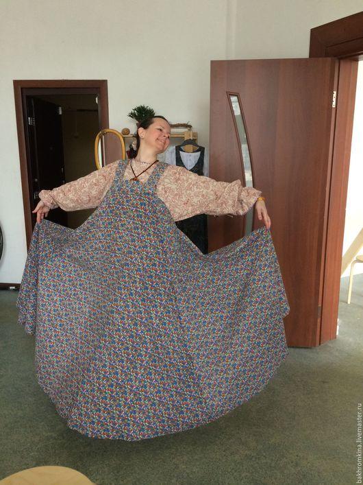 Одежда ручной работы. Ярмарка Мастеров - ручная работа. Купить традиционный русский сарафан. Handmade. Голубой, русский костюм