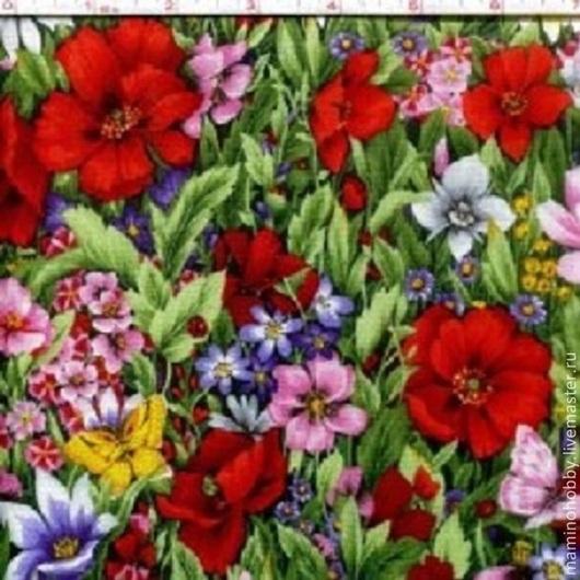 """Шитье ручной работы. Ярмарка Мастеров - ручная работа. Купить Ткань хлопок """"Луговые цветы"""". Handmade. Ткань для творчества"""