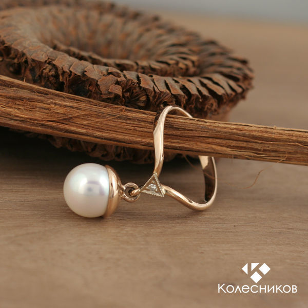 Golden ring 'Drop' (gold, pearls), Rings, Yaroslavl,  Фото №1