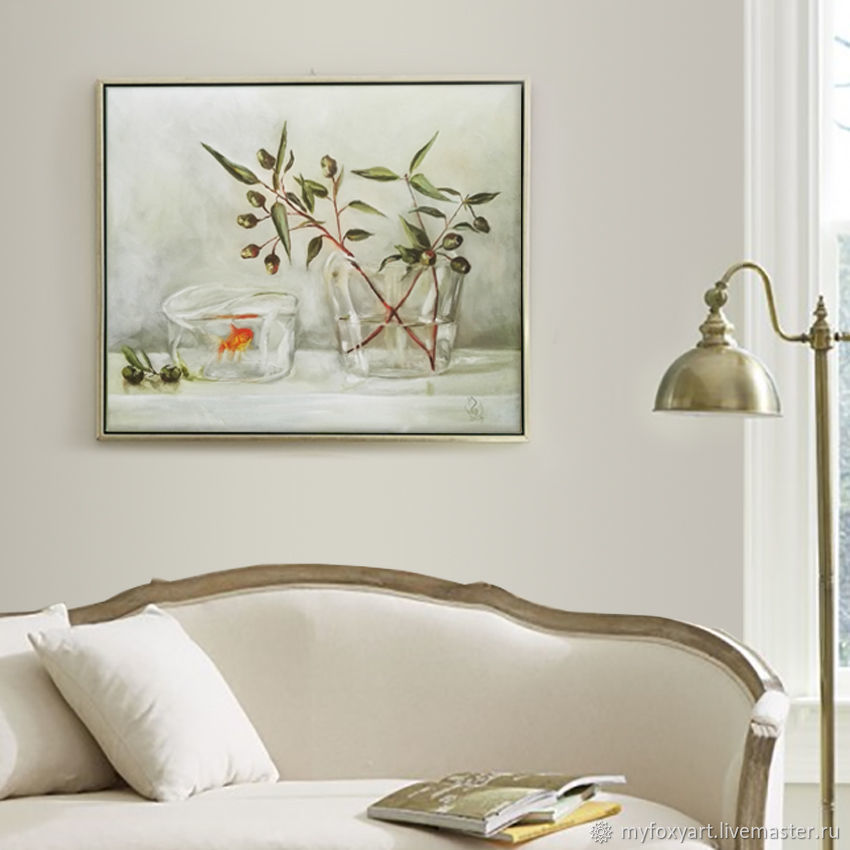 Goldfish and Olives, oil painting on canvas, olive branch, Pictures, St. Petersburg,  Фото №1