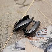 Материалы для творчества handmade. Livemaster - original item Earrings with locking 18h6 mm black (3544). Handmade.