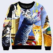 """Одежда ручной работы. Ярмарка Мастеров - ручная работа Свитшот """"Котята рисуют"""". Handmade."""
