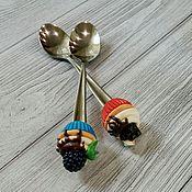 Посуда ручной работы. Ярмарка Мастеров - ручная работа Ложка с декором из полимерной глины. Handmade.