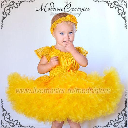 """Одежда для девочек, ручной работы. Ярмарка Мастеров - ручная работа. Купить Детское платье """"Королева"""" желтое Арт.309. Handmade."""