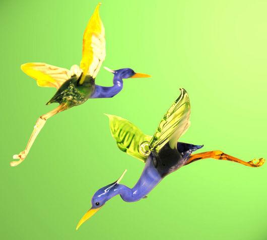 Новый год 2017 ручной работы. Ярмарка Мастеров - ручная работа. Купить Интерьерное стеклянное украшение -  птица Цапля. Handmade. Цапля