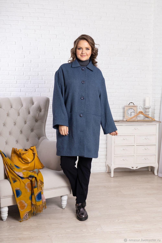 Wool coat Blue melange, Coats, Novosibirsk,  Фото №1