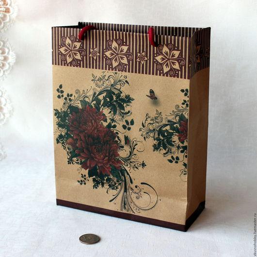 Упаковка ручной работы. Ярмарка Мастеров - ручная работа. Купить Пакет-крафт с рисунком Цветы, бабочка. Handmade. Для сувениров