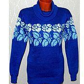 Одежда handmade. Livemaster - original item Knitted sweater White roses. Handmade.