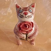 Керамический котик с цветком №2