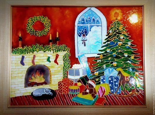 """Пейзаж ручной работы. Ярмарка Мастеров - ручная работа. Купить Витраж """"Новогодний"""". Handmade. Витражи, орнамент, стиль, роспись, сувенир"""
