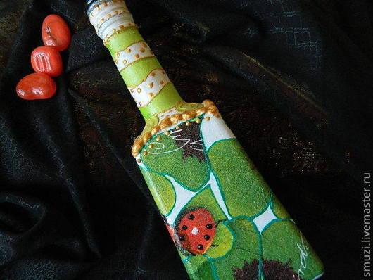 Декоративная посуда ручной работы. Ярмарка Мастеров - ручная работа. Купить СЧАСТЛИВЫЙ КЛЕВЕР бутылка (пустая). Handmade. счастливый клевер