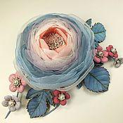 Украшения handmade. Livemaster - original item Cloud Valley Of The Roses. Brooch with flowers made of fabric and genuine leather. Handmade.
