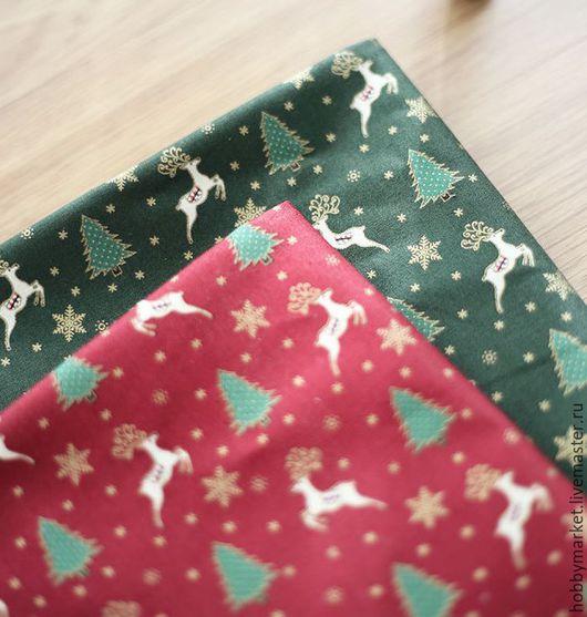 Шитье ручной работы. Ярмарка Мастеров - ручная работа. Купить Ткань хлопок Олени (новый год). Handmade. Ткань для творчества