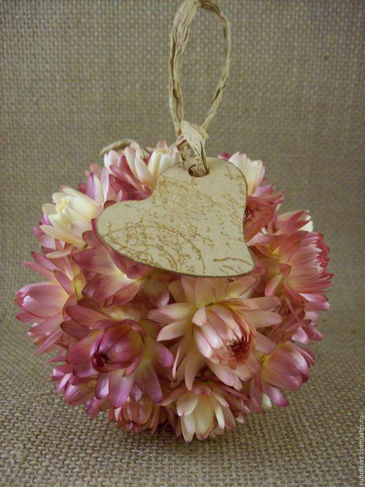 Интерьерные композиции ручной работы. Ярмарка Мастеров - ручная работа. Купить шар из сухоцветов розовый средний. Handmade. Бледно-розовый