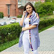 Одежда handmade. Livemaster - original item Dress shirt cotton stripe violet blue. Handmade.
