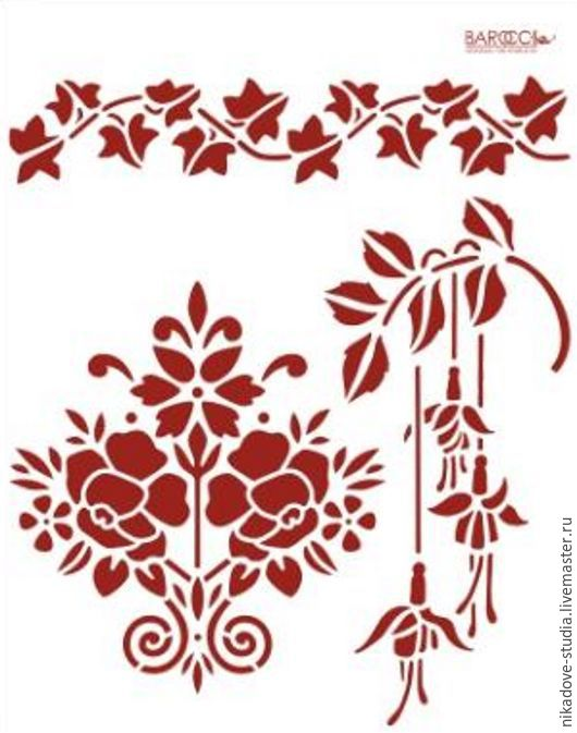 Декупаж и роспись ручной работы. Ярмарка Мастеров - ручная работа. Купить Цветочный орнамент (Л-14) - трафарет barocci. Handmade.