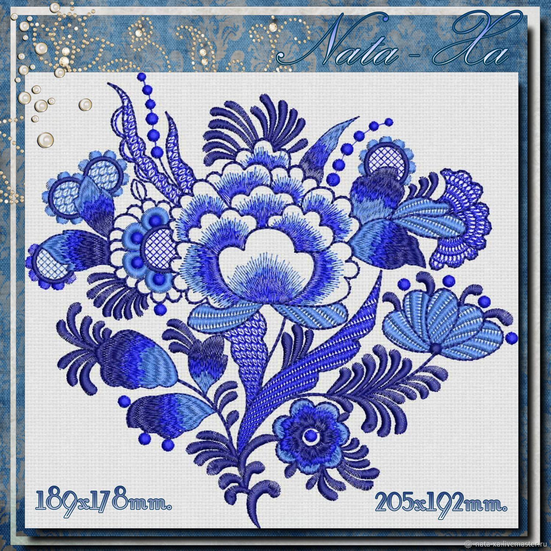 Needlework handmade. Livemaster - handmade. Buy Blue dream. Set No. 2.Flowers, machine embroidery