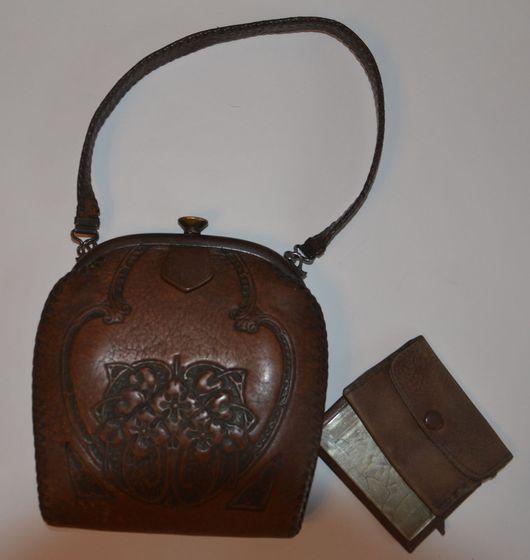 Винтажные сумки и кошельки. Ярмарка Мастеров - ручная работа. Купить Винтажная сумка. Handmade. Винтажная сумка, модерн, Кожаная сумка