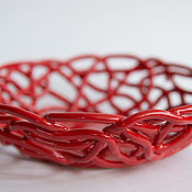 Посуда handmade. Livemaster - original item The Bottom Red Openwork. Handmade.
