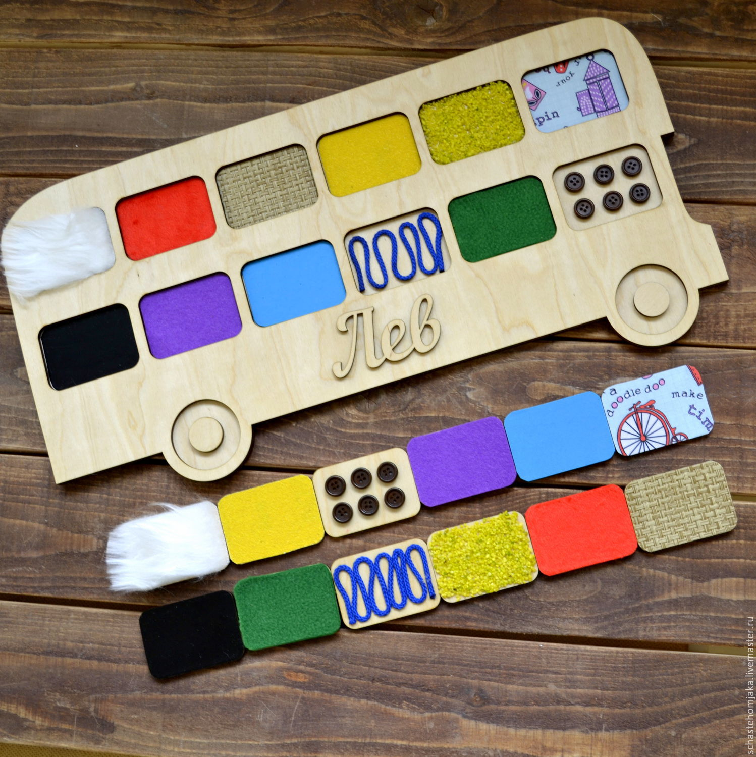 Tactile boards 'double-Decker bus'. Educational game, Play sets, Petrozavodsk,  Фото №1