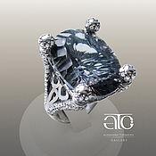 Украшения handmade. Livemaster - original item Ring with mystic quartz and CZ. 925 sterling silver.. Handmade.