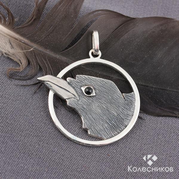 Silver pendant Black Raven (silver, obsidian), Pendants, Yaroslavl,  Фото №1