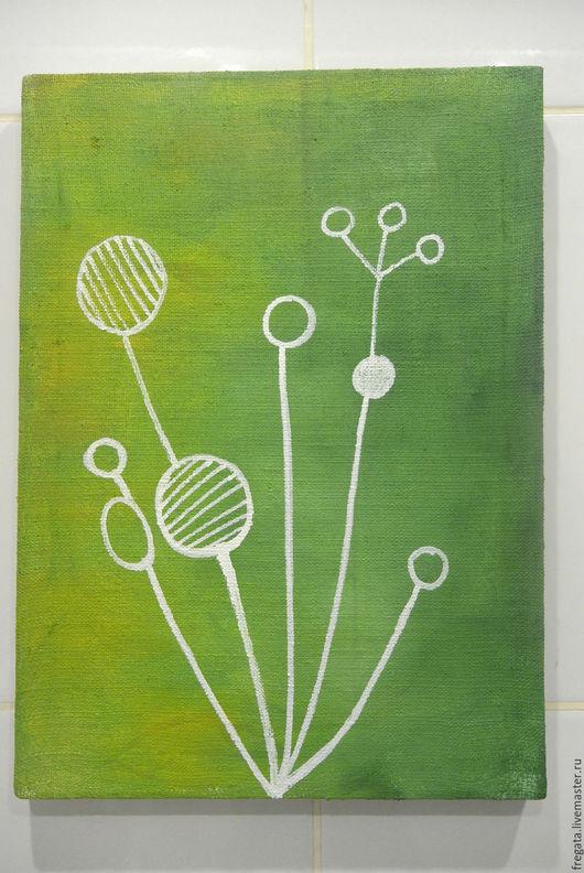 Абстракция ручной работы. Ярмарка Мастеров - ручная работа. Купить Flora I. Handmade. Ярко-зелёный, мода, холст на подрамнике