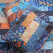 """Для дома и интерьера ручной работы. Ярмарка Мастеров - ручная работа """"Все оттенки синего + рыжий"""" лоскутное покрывало и наволочки.. Handmade."""
