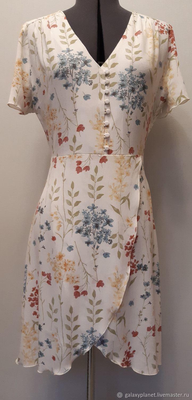 Платье из жатой вискозы в рустик-стиле, с кокеткой и запахом, Платья, Солнечногорск,  Фото №1