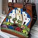 Handbags handmade. Livemaster - handmade. Buy Bag - package 'Haifa'.Red, drawing, road, metal hardware